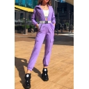 Dainty Womens Jumpsuits Solid Color Mock Neck Long Sleeves Full Length Elastic Cuff Zip Placket Pockets Cargo Jumpsuits in Purple