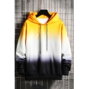 Vintage Mens Hoodie Ombre Color Drawstring Long Sleeve Relaxed Fitted Hoodie