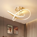Minimal Twisted Semi Flush Mount Metal LED Bedroom Close to Ceiling Light in Gold