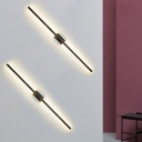 Black Slender Wall Lighting Ideas Contemporary LED Metallic Wall Sconce with Rectangle Backplate