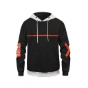 Street Mens Black Letter Booom Graphic Contrasted Long Sleeve Drawstring Pouch Pocket Loose Hoodie
