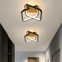 Acrylic Square Ceiling Fixture Simple Style LED Flush Mount Light in Black for Doorway