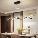 Intertwining Dining Room Island Lighting Metal LED Modernism Hanging Lamp Fixture in Black/Grey, Warm/White Light