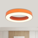 Orange Annular Ceiling Flush Mount Contemporary LED Acrylic Flush Lamp Fixture in Warm/White/Natural Light