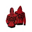 Trendy Mens Stripe Print Long Sleeve Zip Up Drawstring Relaxed Fit Hoodie in Red