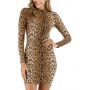 Brown Sexy Fashion Butterfly Leopard Print Long Sleeve High Collar Side Split Mini Bodycon Dress