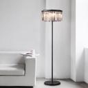 Vintage 1/3 Tiers Standing Lamp 5 Lights Faceted Clear Crystal Bar Floor Lamp in Black