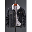 Trendy Men's Jacket Contrast Stitching Lined Long Sleeves Acid Wash Button Closure Pocket Spread Collar Fitted Denim Jacket