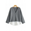 Leisure Womens Patchwork Long Sleeve V-neck Button Up Knitted Loose Fit Cardigan