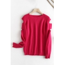Leisure Womens Solid Color Cut Out Long Sleeve Crew Neck Knit Loose Fit Pullover Sweater Top