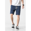 Basic Mens Solid Color Linen and Cotton Drawstring Waist Straight Shorts
