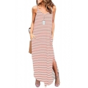 Summer Classic Striped Print Spaghetti Strap Loose Split Hem Maxi Slip Dress