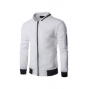 Chic Jacket Contrast Trim Pockets Stand Collar Long-sleeved Zip Closure Quilted Slim Fitted Baseball Jacket for Men