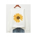 Ladies Trendy Sunflower Printed Crew Neck Long Sleeve Relaxed Fit Pullover Sweatshirt