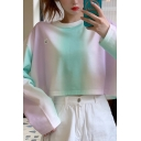 Ladies Pretty Ombre Crew Neck Long Sleeve Relaxed Fit Crop Pullover Sweatshirt