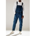 Men's Streetwear Light Blue Multi Pockets Straight Fit Overall Jeans