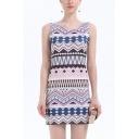 Vintage Geometric Pattern Bohemian Style Round Neck Sleeveless Mini Bodycon Tank Dress for Women