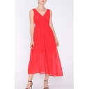 Pretty Womens Solid Color Backless Surplice Neck Sleeveless Midi A-Line Empire Waist Dress in Red