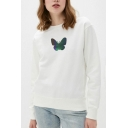 Girls Fashionable Butterfly Printed Long Sleeve Crew Neck Loose Fit Crop Pullover Sweatshirt in White