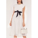 Graceful Solid Color Hollow Out Lace Bow Tie Waist Round Neck Sleeveless Midi A-Line Dress for Women