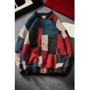 Mens Jacket Simple Color Block Button down Stand Collar Long Sleeve Loose Fit Casual Jacket with Pockets