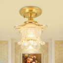 Clear Ribbed Glass Gold Semi Flush Light Flower 1 Head Traditional Close to Ceiling Lighting for Corridor