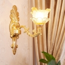 1/2-Bulb Wall Mount Light Traditional Swooping Arm Metal Wall Lighting Ideas in Gold with Petal Glass Shade