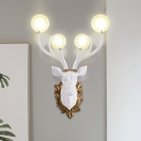 Clear Glass Globe Wall Lighting Ideas Rustic 4-Head Living Room Wall Light Sconce with White Resin Deer Head Backplate