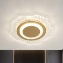 Lotus Acrylic Ceiling Mounted Light Modernist LED Gold Flush Lamp Fixture in Warm/White Light
