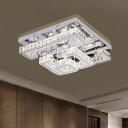 Beveled Crystal Squared Semi Flush Contemporary LED Ceiling Lighting in Chrome for Living Room
