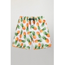 Basic Mens Shorts All-over Pineapple Pattern Regular Fitted Drawstring Waist Relaxed Shorts