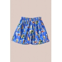 Retro Mens Shorts Beer Glass Printed Drawstring Waist Regular Fitted Relaxed Shorts