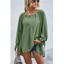 Leisure Womens Solid Color Drawstring Long Sleeve Round Neck Button Up Loose Fit Henley T Shirt