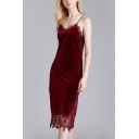 Sexy Ladies Hollow Out Lace Patchwork Backless V Neck Spaghetti Straps Sleeveless Midi Sheath Cami Sleepwear in Burgundy