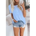 Simple Womens Solid Color Button Front Collarless Short Sleeve Loose Henley Tee Top