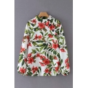 Trendy Womens White All Over Flower Leaf Printed Long Sleeve Stand Collar Oblique Button Relaed Fit Shirt Top
