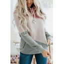 Fashion Womens Colorblock Long Sleeve Cowl Neck Drawstring Relaxed Fit Hoodie in Pink