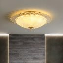 Bowl Flush Mount Lighting Modern Clear Crystal 16