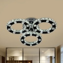 Simple Circle Flush Mount Ceiling Light Clear Crystal Living Room LED Flushmount in Stainless-Steel