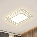 Round/Square Acrylic Flush Light Modernism LED White Ceiling Lighting with Crystal Accent for Living Room