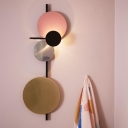 Modern Circles Wall Mounted Light Metal LED Living Room Surface Wall Sconce in Red/Pink/Blue