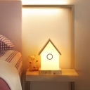 Acrylic House Shaped Night Light Macaron LED Nightstand Lighting in Wood for Bedside