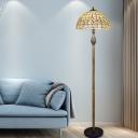 Shell Beige Floor Standing Lighting Lattice Bowl 2 Lights Mediterranean Pull Chain Floor Lamp with Floral Pattern