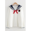 Students Preppy Style Cat Print Embroidery Tied Sailor Collar Long Sleeve Pullover Sweatshirt