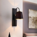 Simple 1 Light Wall Sconce Black Conical Wall Mounted Lighting Fixture with Fabric Shade