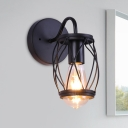 1 Bulb Wall Light Sconce Warehouse Dining Room Wall Lighting Ideas with Cylinder Cage Metal Shade in Black