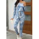Novelty Womens Jumpsuits Tie Dye Cuffed One Shoulder Drawstring Waist Long Sleeve Regular Fitted Jumpsuits
