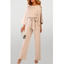 Womens Jumpsuits Stylish Plain Keyhole Back Three Quarter Sleeve Tie-Waist Loose Fitted Straight Jumpsuits