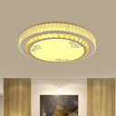 Ribbed Crystal Circle Flush Light Fixture Minimalist Chrome LED Flushmount Ceiling Lamp for Foyer