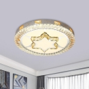 Simple Flush Ceiling Light Fixture Loving Heart/Star Patterned Round LED Flushmount with Crystal Shade